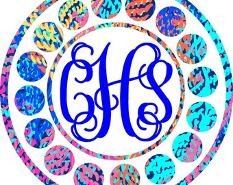 Monogram Decal, Car Monogram, Monogram Decal with Dot Border