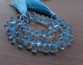 Sky Blue Topaz Briolette Facetted  Drops 6-7mm 35 Pcs  AAA Quality