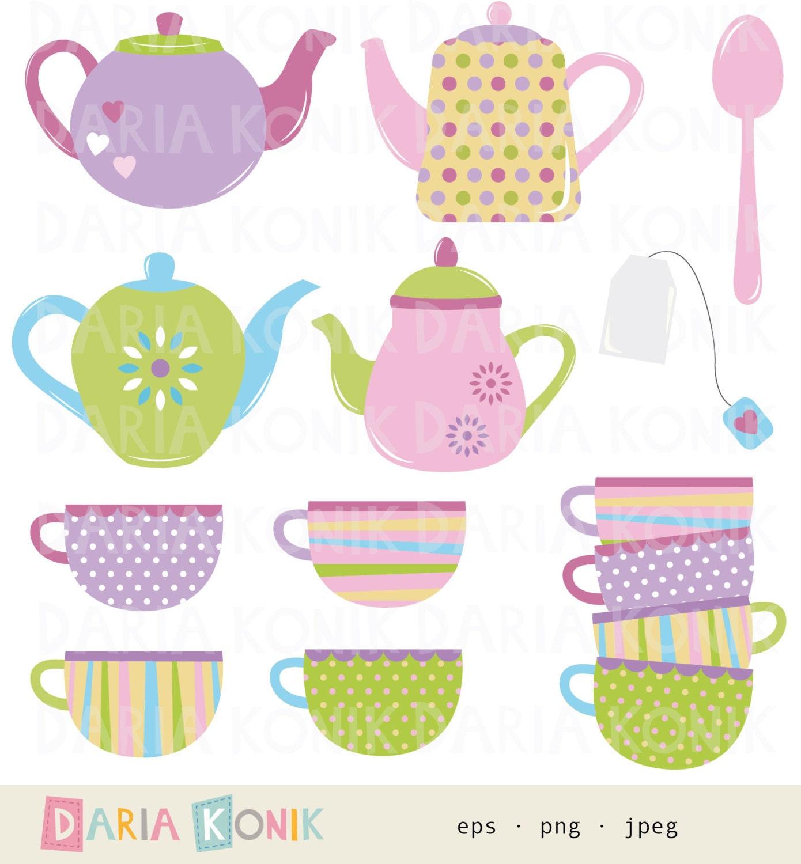 Tea Time Clip Art Set Teapots Cups Spoon Tea Bag Colorful