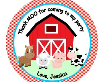 12 Personalized Farm Animal Old MacDonald Baby Shower  or Birthday Party Favor Thank You Tags or Stickers you choose