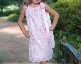 Pink lace and satin pillow case dress 6-8