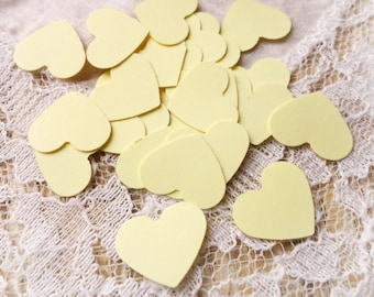 50 Light YELLOW Mini Heart Die Cut, Punches, scrapbook, embellishments, cards, cardstock, conffeti 5/8 inch