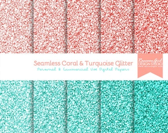 50% OFF Seamless Coral and Turquoise Glitter Digital Paper Set - Personal & Commercial Use