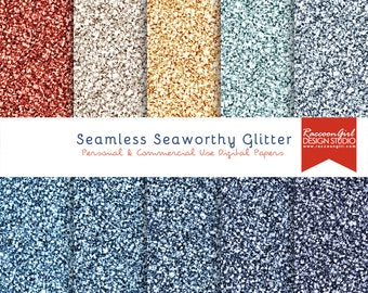 50% OFF Seamless Seaworthy Glitter Digital Paper Set - Personal & Commercial Use
