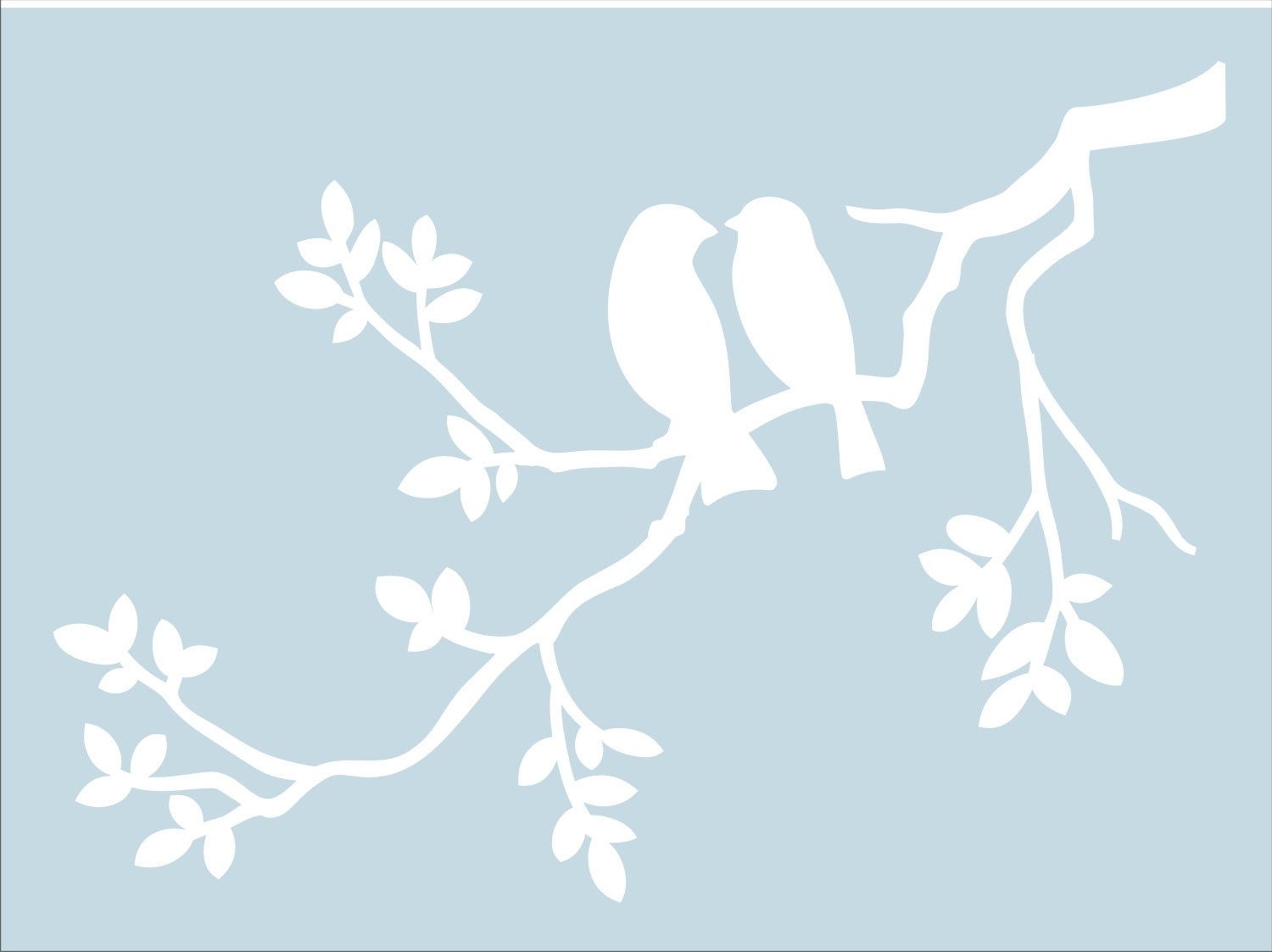 Two birds on branch reusable stencil available in 5 zoom amipublicfo Gallery