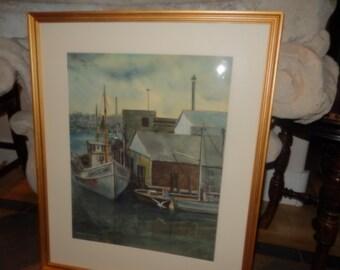 ORIGINAL WATERCOLOR PAINTING of Boat and Dock