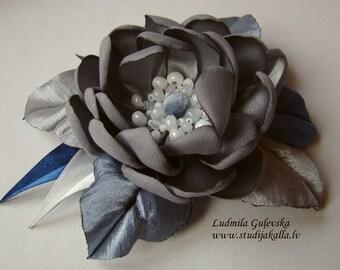 Handmade gray satin flower brooch, flower clip & pin, embroidered flower