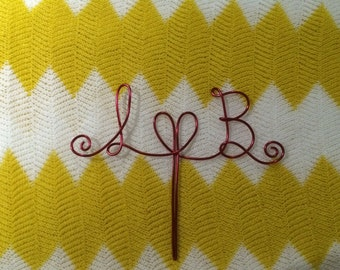 Custom Made Wire Cake Toppers - Personalised with your initials either side of a Love Heart