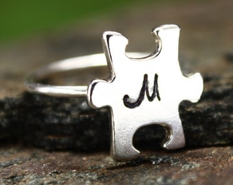 Autism Puzzle Piece Jewelry Personalized Ring, Autism Jewelry Monogram Ring, Aspergers Jewelry