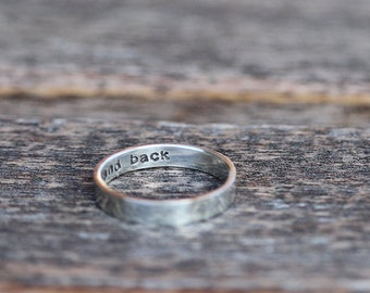 Personalized sterling silver ring with hidden message K007