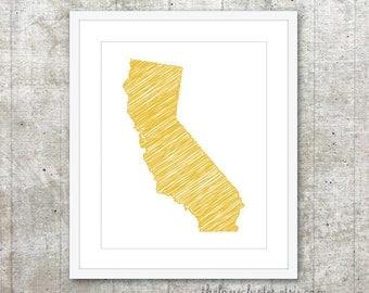 State of California Art Print - Custom State Poster - Mustard Yellow - Modern Wall Art
