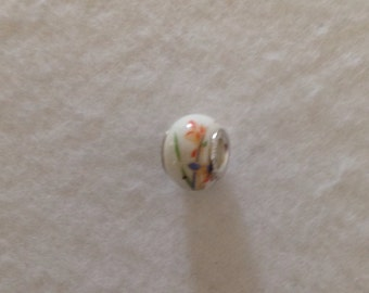Hand Painted Porcelain Flower Charm