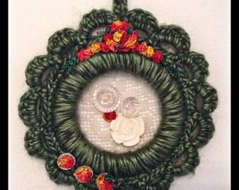 Crochet framed wall plaque