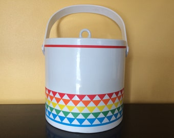 Vintage Ice Bucket with Rainbow Colors and tongs