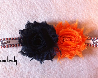 Detroit Tigers Baby Girl Boutique Bow Elastic Headband