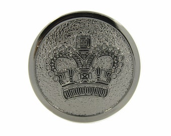 Crown Buttons - Shiny Gunmetal Crown Metal Shank Buttons - 28mm - 1 1/8 inch -  6 pcs