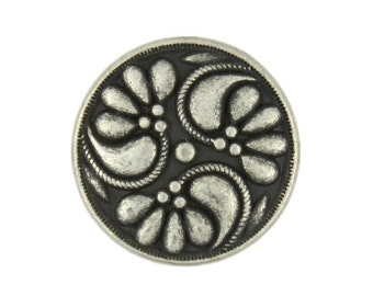 Metal Buttons - Flower Swirl Metal Shank Buttons in Antique Silver Color - 18mm - 11/16 inch - 6 pcs