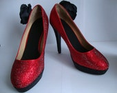 Red and Black Rhinestoned Heeled Shoes with Large Black Silk Flower Size 4