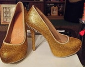Gold Rhinestoned Shoes with Pearls and Silver Spikes Size 4