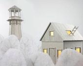 Cardboard Lighthouse Lamp; an enchanting bedside or table light