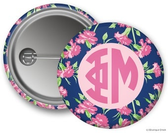 Phi Mu Floral Monogram Sorority Greek Button