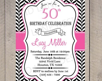 Adult Birthday Invitation, Invite, 21st, 25th, 30th, 40th, 50th, 60th, 70th, 80th Black and White Chevron, Pink 6056