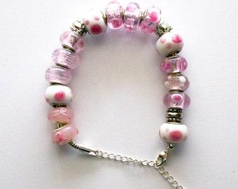Pink Rose, breast cancer awareness Charm Bracelet