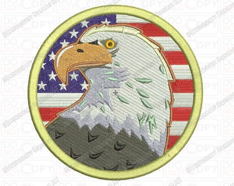 Bald Eagle Flag USA Patriotic Embroidery Design in 4x4 and 5x7 Sizes