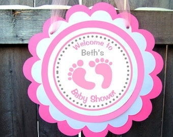 Baby Feet Baby Shower Door Sign - Pink Baby Girl Shower Sign