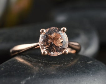 Morganite Engagement Ring in Rose Gold, 0.75ct Round Brilliant Morganite Solitaire, Classic 4-Prong Cathedral Setting, 1.8mm Band, Talia