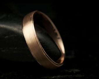 Brian B - Gentleman's Wedding Band in Rose Gold, 4.8mm, Satin Finish with High Polish Edges, Free Shipping