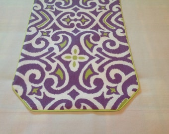 Purple, Lime Green and White Table Runner