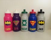 Personalized Kids Party Favor - Super Hero Water Bottles - Captain America, Superman, Batman, Green Lantern