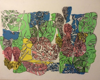 Faces by BeBold Art work, contemory piece, modern illustration with painting in acrylic. A1 sized paper 594x841mm
