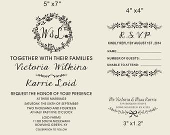 Floral Frames rubber stamp,-Wedding invitation Rubber Stamp SET with Invitation  RSVP-wedding adderss Custom stamps- Wreath & Flower stamp