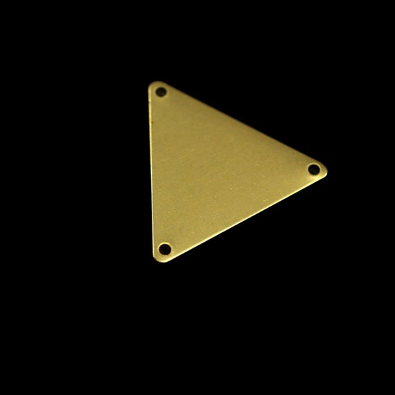 60 pcs 22x25 mm raw brass triangle tag 3 hole connector charms ,findings 926R