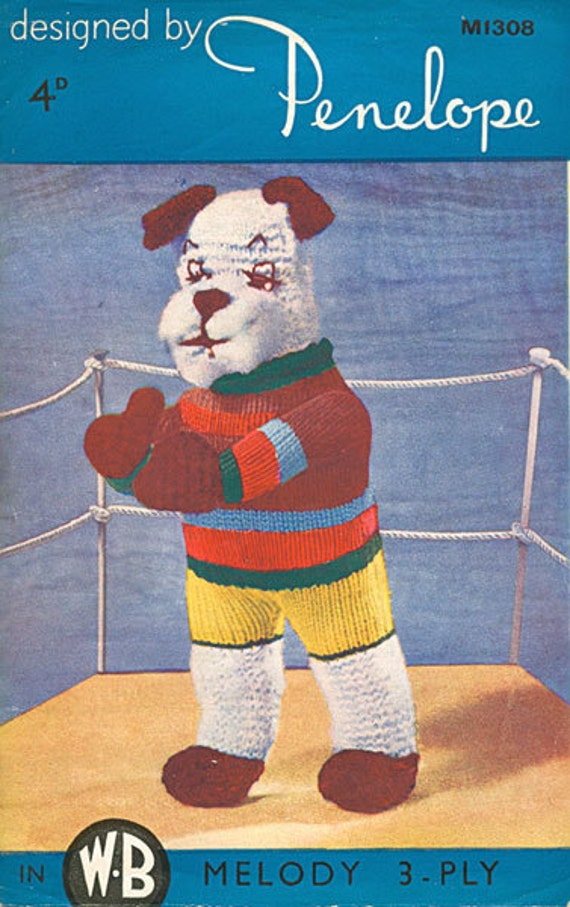 Knitting Patterns For Boxer Dogs : Items similar to Penelope 308 boxer dog vintage toy knitting pattern PDF inst...