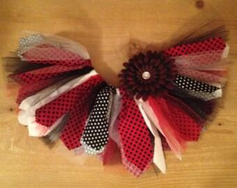 Red and Black Polka Dot Scrap Fabric Tutu