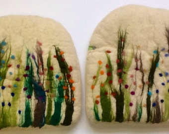 Handfelted Seat Cushion half round half square with grass and flowers, white