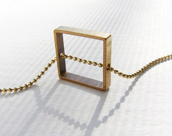 Square necklace, geometric square charm necklace, square pendant, minimal modern pendant necklace, open square necklace, gift for her