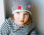 Girl hat grey with roses , every day spring  hat,  girl hat