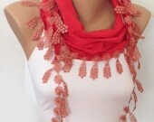 ON SALE - Coral Scarf - Lace Scarf - Bridesmaids Gift Accessories - Bridesmaids Scarf -  Cowl with Lace