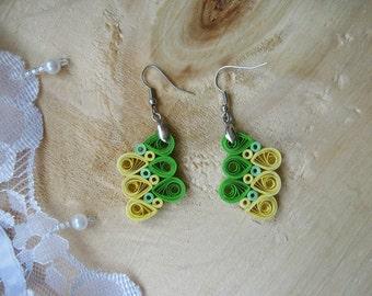 1st Anniversary Gift, Green&Yellow earrings, Paper earrings, Everyday Jewelry, Paper wedding Gift, Bridesmaid,Teens,Boho, Earrings
