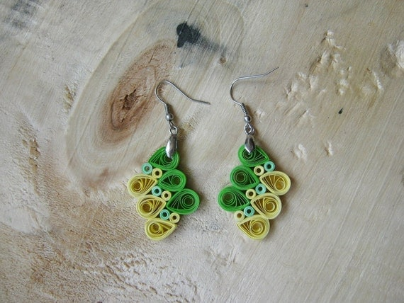 1st Anniversary Gift, Green&Yellow earrings, Paper earrings, Everyday ...