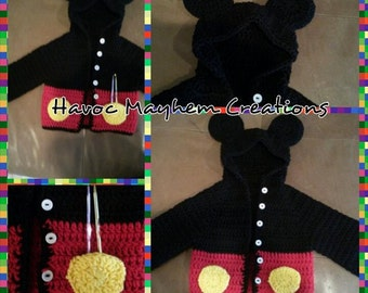 Mickey Mouse Hooded  Baby Sweater.