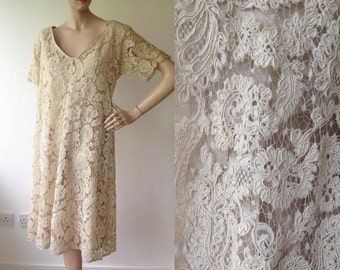 1960s Cream Guipure Lace Wedding Dress / 60s Wedding Dress / Vintage Lace Dress / Size UK 10
