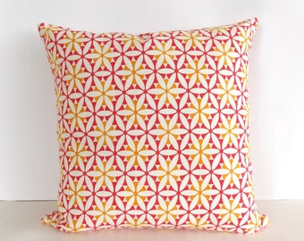Pink and Yellow Accent Pillow - Pink Throw Pillow - White, Yellow, Pink