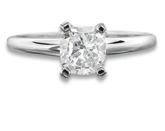 1 Carat Cushion Cut Diamond Engagement - Solitaire Diamond Engagement Ring - Cushion Cut Diamond - Clarity Enhanced Diamond - 14K White Gold