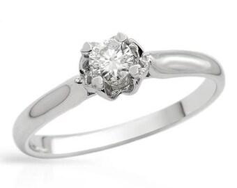 0.22 Carat Diamond Engagement Ring - Solitaire Diamond Engagement Ring - Round Brilliant Cut Diamond - Clarity Enhanced  - 14K White Gold