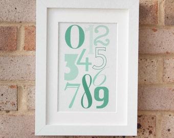 Numerals, Green - Giclée print